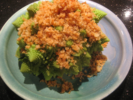 Steamed Romanesco with Parmesan Butter Bread Crumbs